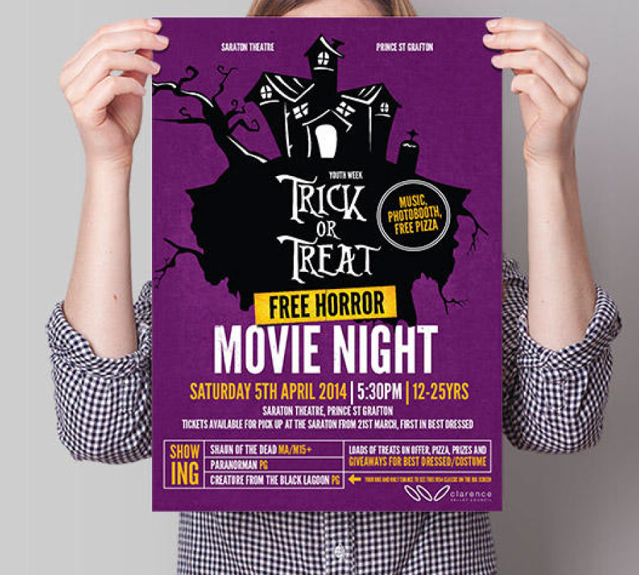 Movie night poster design and print