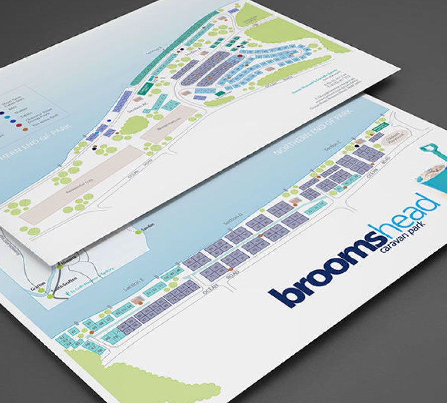 Map design for Brooms Head Caravan Park, Clarence Valley Council
