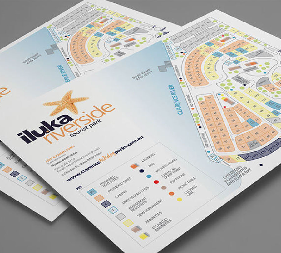 Map design for Iluka Caravan Park, Clarence Valley Council