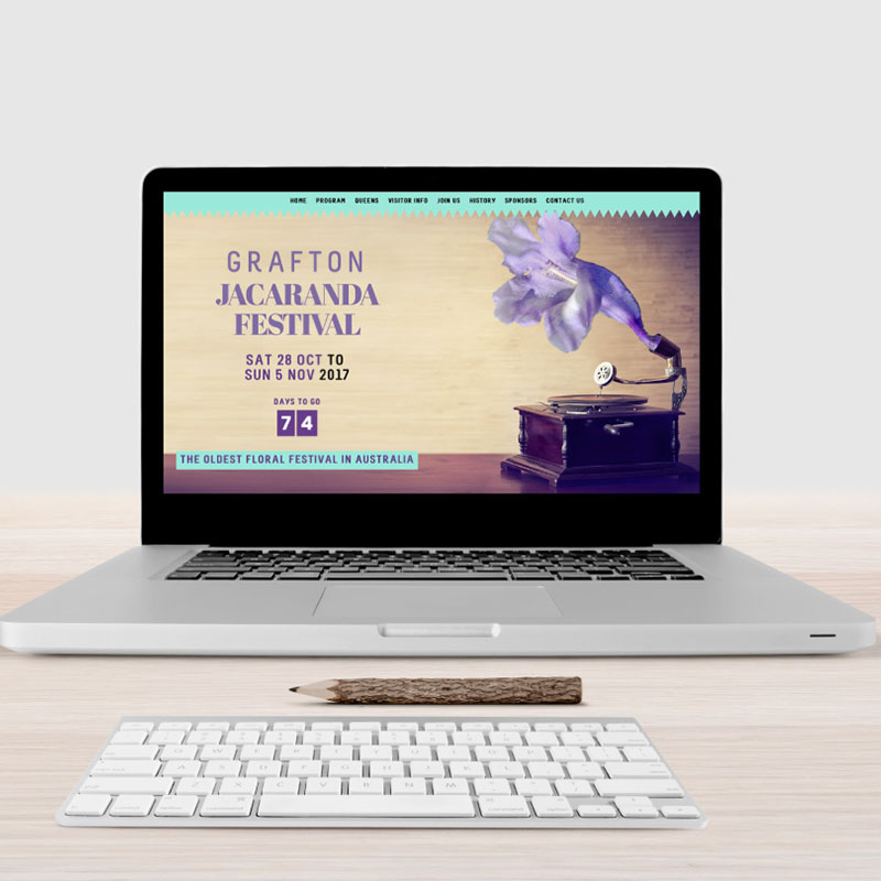 Complete custom and bespoke website design, development for leading regional tourism event the Jacaranda Festival